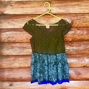 Free People black lace and boho print blouse
